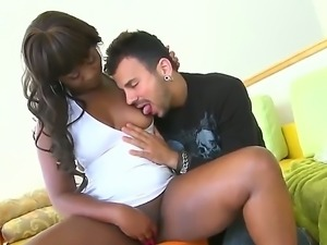 Appetizing Ebony Jazmin Swede got the biggest white dick today by hot guy Voodoo
