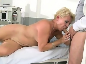 Granny Helen with blonde hairy pussy fucking with long haired doctor in the...