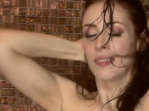 Amazing brunette chick Aiden Ashley is masturbating after a good hot shower