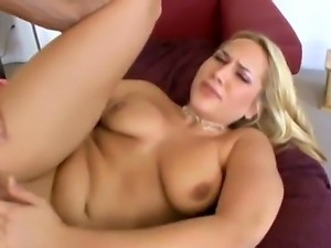 Beautiful and gentle blonde named Alanah Rae gets a big cock in her tight pussy
