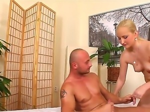 Joey Biohazard is getting his aroused shaft massaged by stunning blonde Paris...