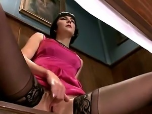 Brunette in stockings Coral Aorta enjoys massive group sex along some horny...