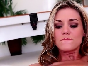 Superb blonde milf Michelle Monroe enjoys naughty masturbation show