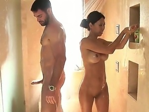 Lucky guy Charles Dera enjoying hot fondling and great deep blow job from Tia...