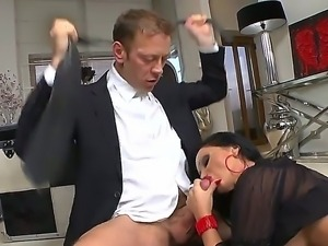Slutty sensational babes compete for cock as their tight gaping cunts are...
