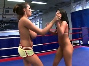 Appetizing fighting cougars Janelle and Madison Parker will make your dick...