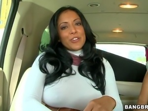 Curvy raven-haired milf Kiara Marie in tight fit white dress