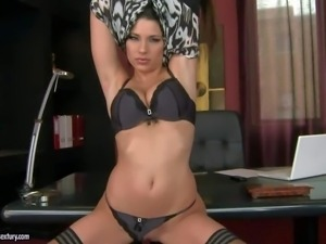 Beautiful brunette Zafira takes off her panties and bra before
