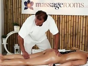 Hot blonde gets sexy body massaged