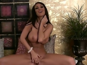 Tanned and fit brunette hottie Sandee Westgate enjoys in revealing her shaved...