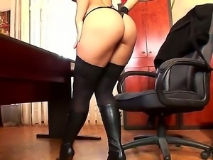 Sexy stripdance of beautiful babe Eve Angel in hot lingerie outfit on camera
