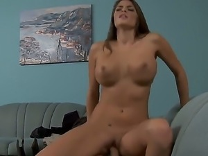 Very beautiful housewife Madelyn Marie shows her perfect body and gets a cock...