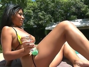 Flawless chick Cassandra Cruz prepares herself for tough bang beside the pool...