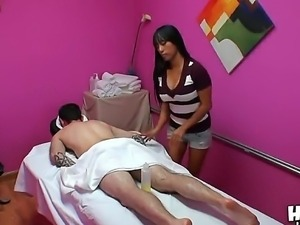 Gaia is an Asian masseuse and she makes only a sensitive massage for her clients
