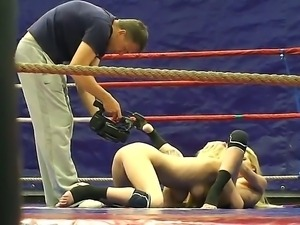 Blonde sex bombs Antonya and Sophie Moone become wild at the ring on the way...