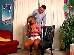 Tanned curvy blonde Cameron Dee gives head to her lover while he pleasures...