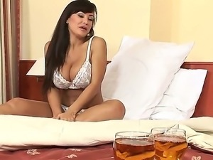 Delightful busty brunette Lisa Ann in sexy lingerie gets hardly fucked by...