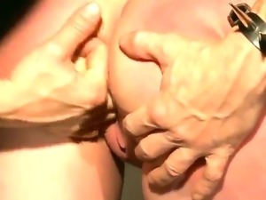 Sexy slut Johanne tied on by a ring then fucked doggy.