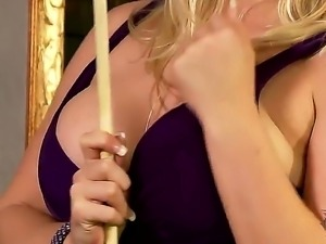 Lustful blonde was licking a billiards cue and balls when she got horny...