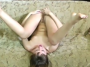 Ugly bitch Violetta demonstrates her dirty cunt in front of the camera. She...