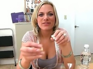 Amazing and hot amateur interview with sweet blonde who has delicious body...