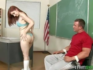 School chick Violet Monroe takes off her panties and spreads