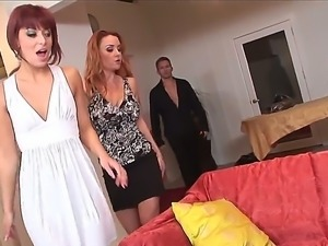 Sexy wife Andrianna Angel feeds filthy Janet Mason with hairy cunt and makes...