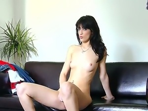 The sexy brunette Carol Vega with the creamy skinned masturbates her pussy so...