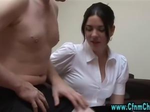 Cfnm fetish handjob for horny loser
