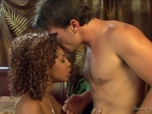 Petite ebony girl Misty Stone with curly hair and tiny