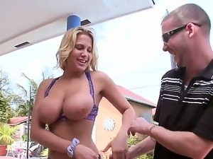 Busty Alanah Rae lets horny stud to enjoy her boobs before grabing his stiff...