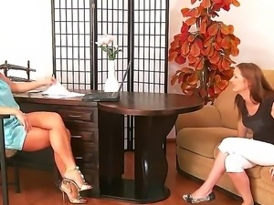 Hot milfs Michelle and Silvia Saint are having a great time in softcore session