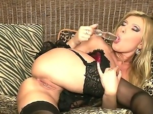Lingerie and dildo are her best friends, watch this blonde coming with solo fuck