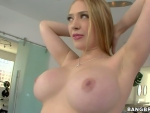 Amazing Kagney Linn Karter shows us her beautiful enhanced boobs