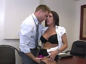 Look at Levi Cash fucking hard deliciou spicy brunette whore J Love on her...