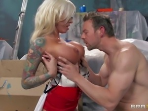 Arousing cock addicted cheating blonde milf with arm covered in