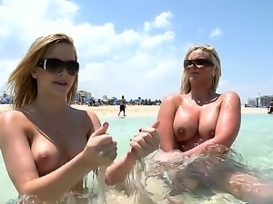 Alluring blondes Alexis Texas and Phoenix Marie are showing off their hot...