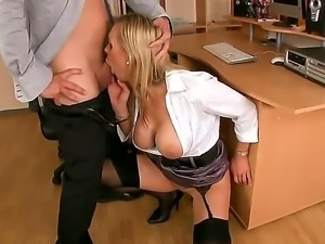 Sensational blonde is carried away and moans as her tight gaping cunt is...