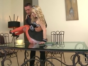 Alluring leggy blonde maid Nesty in sexy red pantyhose gets