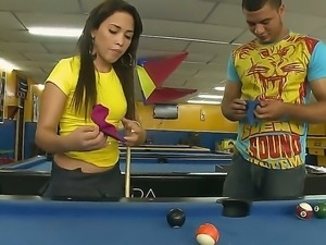 Cute Laura demonstrates big round ass and fucks hard after playing billiard...