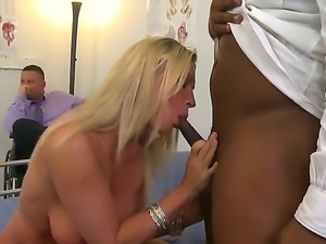 Busty blonde Devon Lee gets fucked by her black doctor Tyler Knight in front...