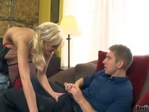 Naked young blonde Molly Rae with sexy ass gives blowjob