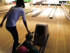 Hot babe Nessa Devil got hot while playing bowling with her boyfriend and...
