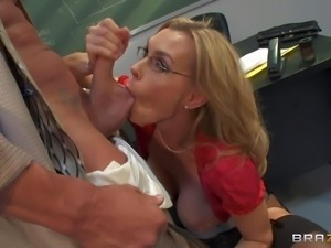 Ball sucking mature blonde teacher Tanya Tate with enormously firm