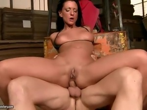 Sexy brunette babe Destiny with long legs and bald pussy
