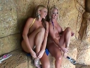 Molly Cavalli and Summer Brielle Taylor frolics wildly with their shaved...