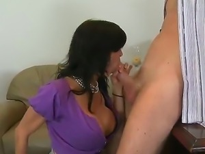 Busty milf likes to suck a cock properly before having her holes drilled well