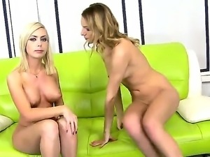 Sexy naughty lesbian babes have the time of their lives as they play and suck...