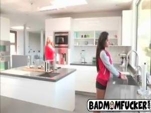 Hot milf licks her step daugthers pussy in the kitchen free