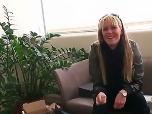 Young famous blonde pornstar Sophie Moone with long hair and sunglasses in...